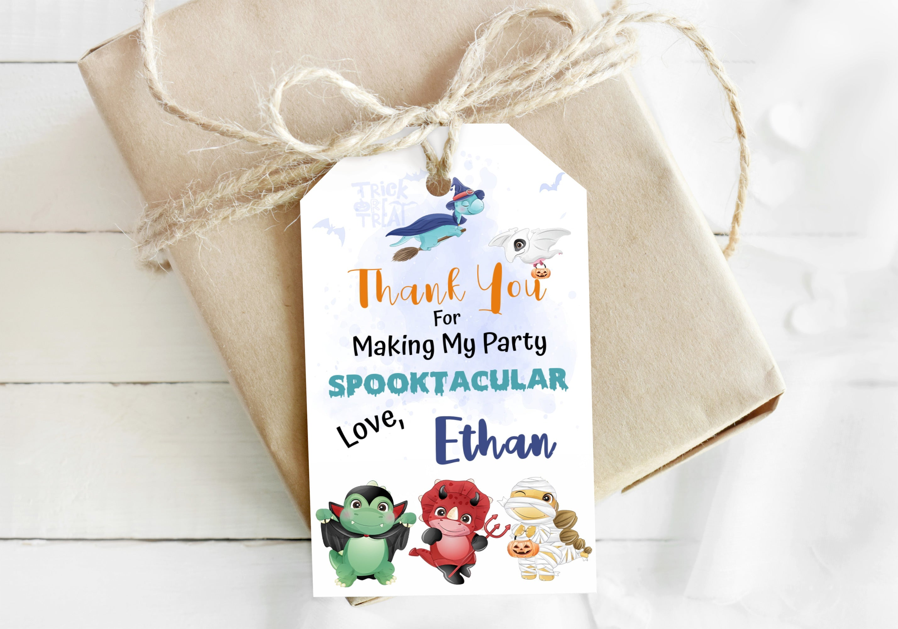 Editable Halloween Thank You Tags | Dinosaurs Theme Party - 115F