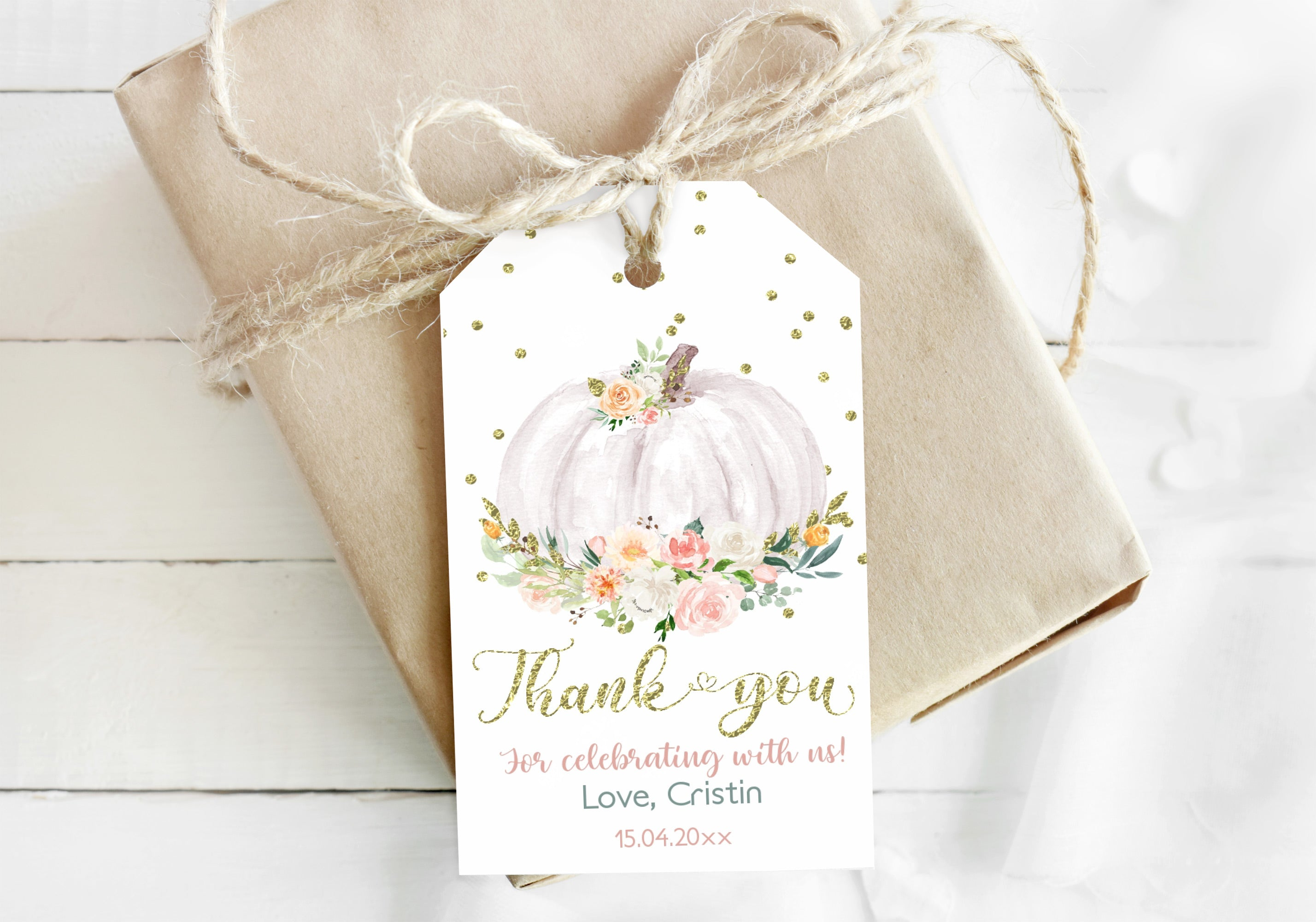 White and Gold Pumpkin Thank You Tag | Fall Baby Shower Favor Tags - 30H