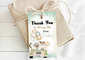 Editable Safari with Mask Thank You Tags | Jungle Theme Party Decorationes-35D