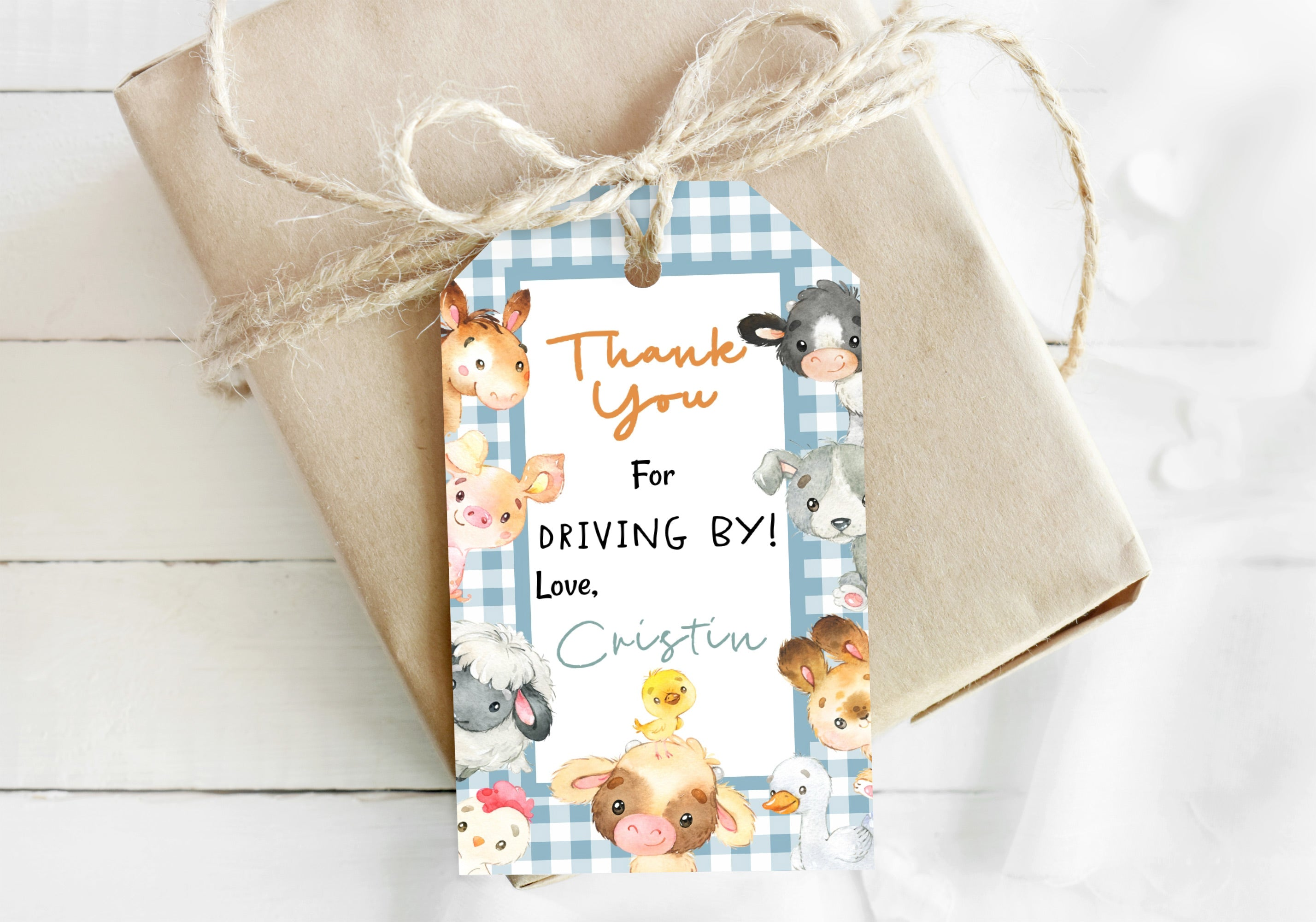 Editable Farm Thank You Tag | Farm Drive By Baby Shower Favor Tag - 15C