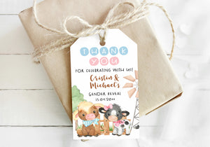 Editable Cow Thank you Tags | Farm Gender Reveal Favor Tags - 11D