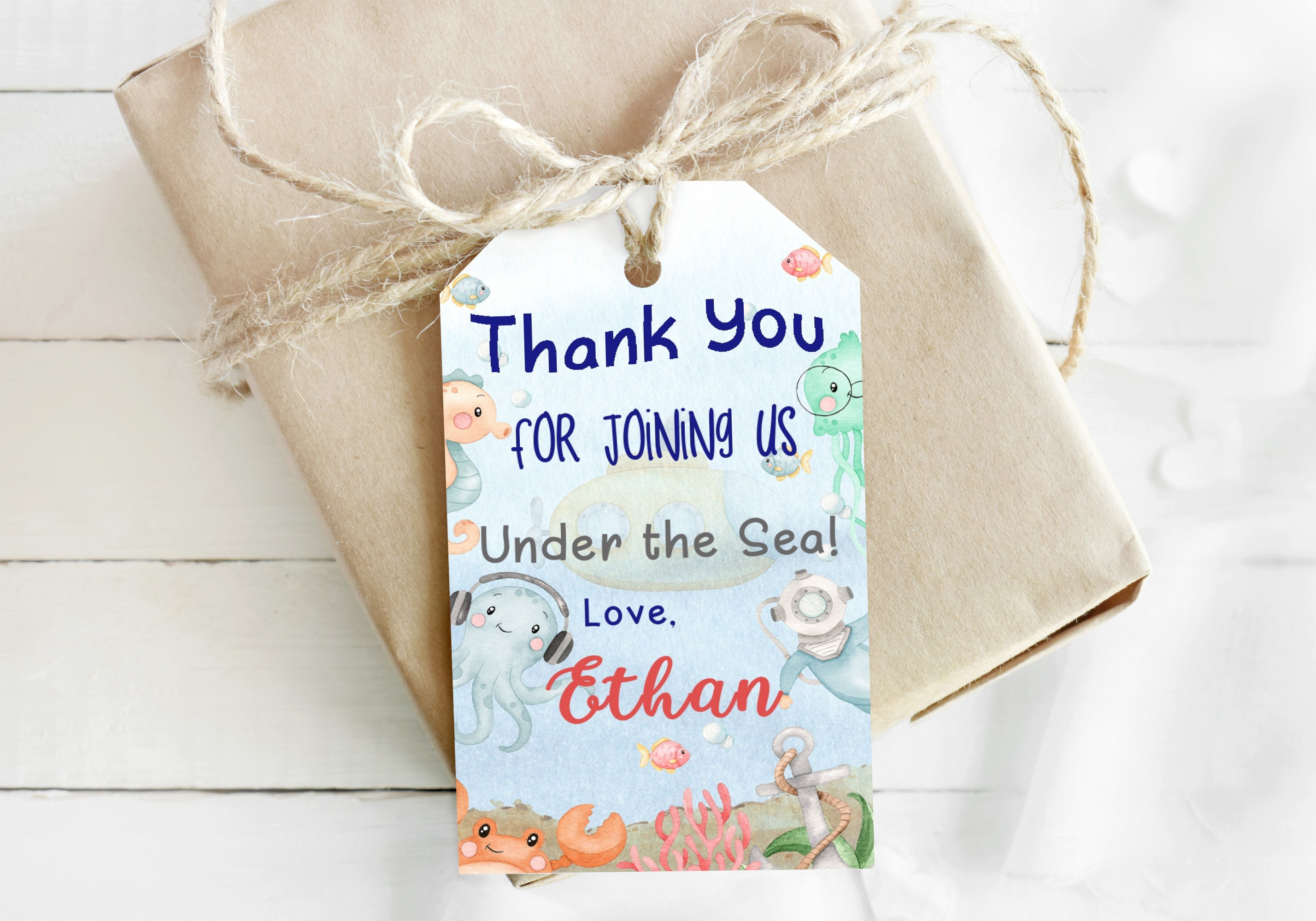 Editable Submarine Birthday Thank You Tags | Under the Sea Themed Party Favor Tags - 44Ab