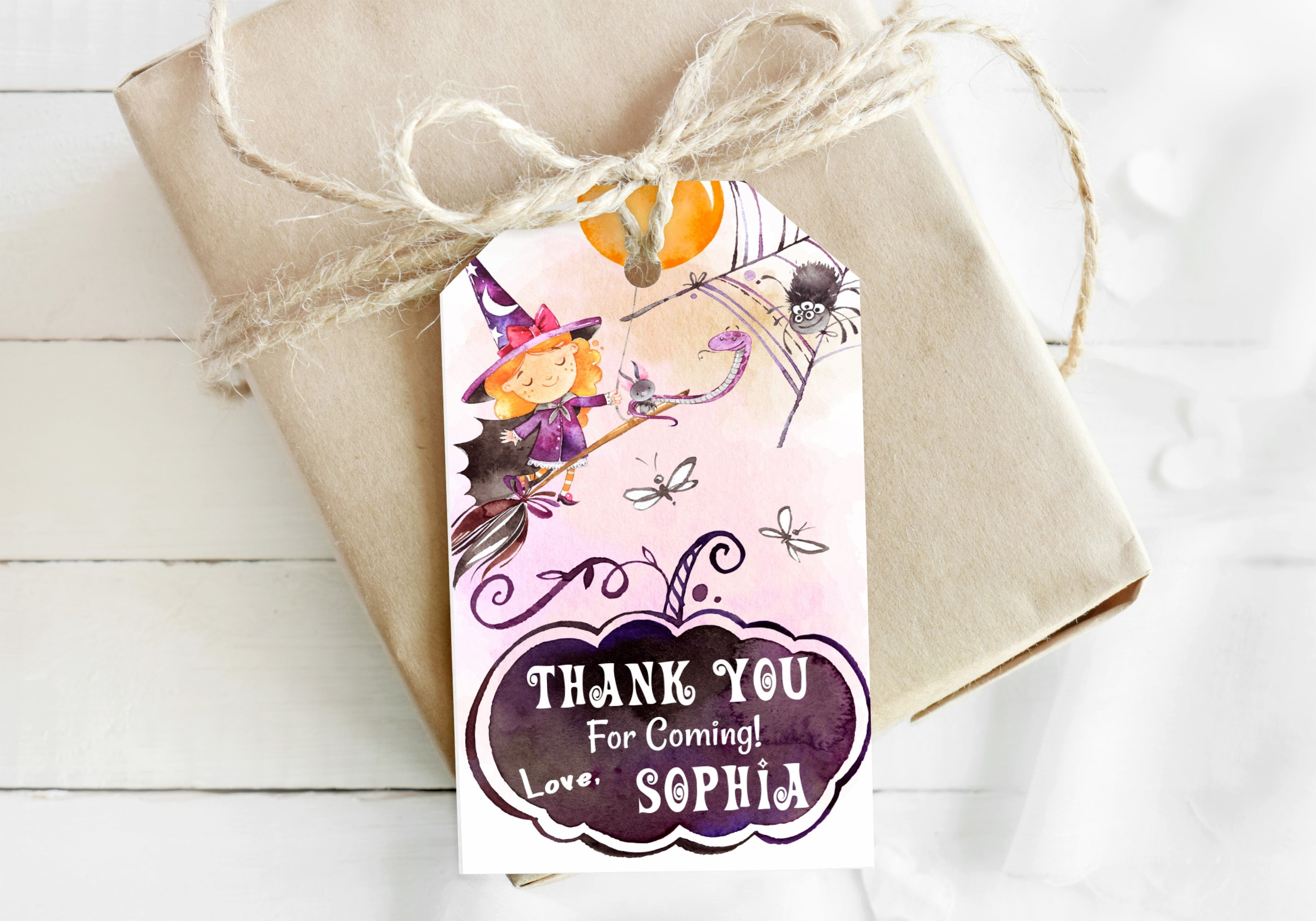 Editable Witch Thank You Tags | Halloween Themed Party Favor Tags - 115C