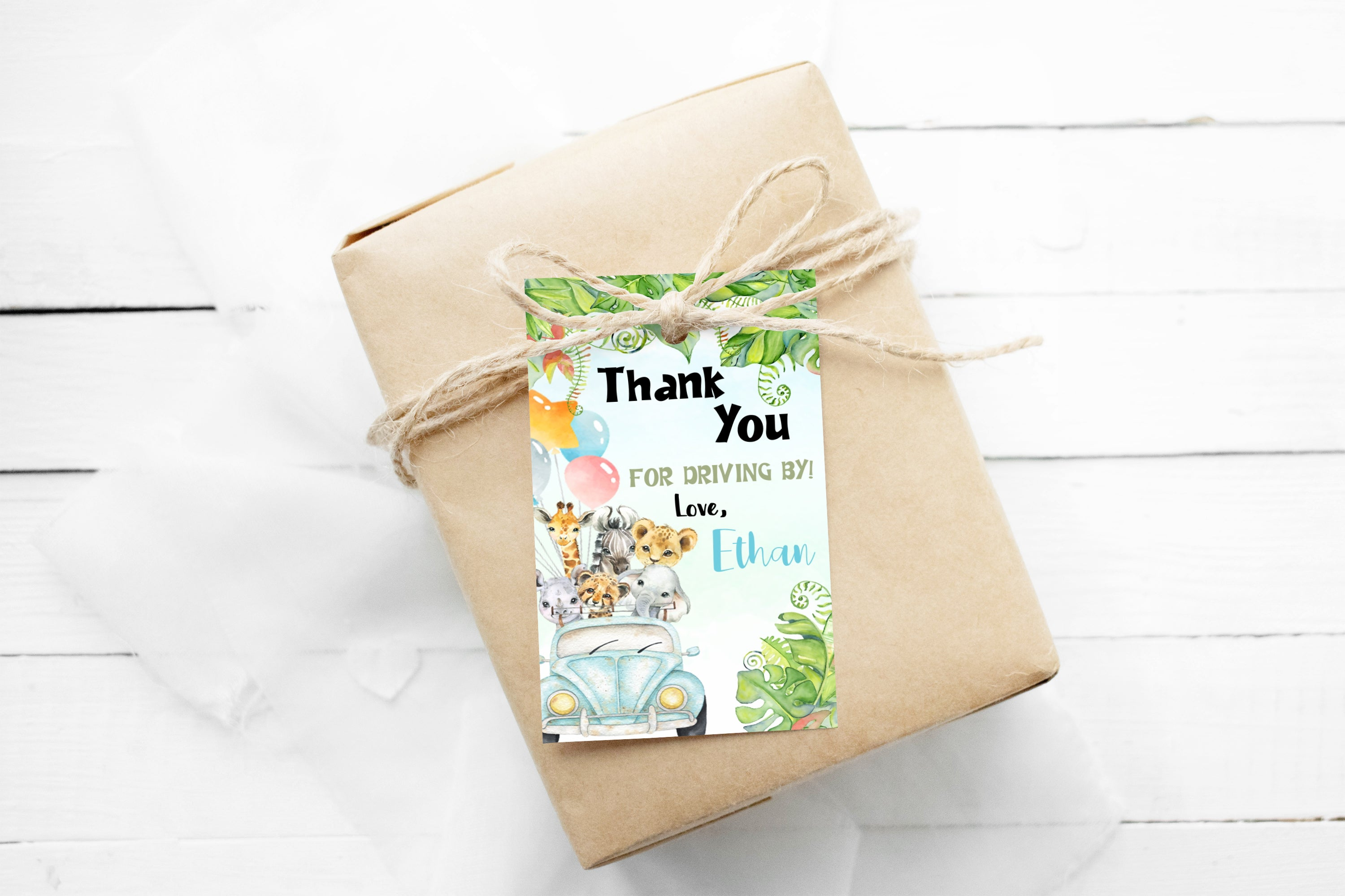 Editable Safari Drive By Thank You Tags | Jungle Theme Party Printables - 35Ab