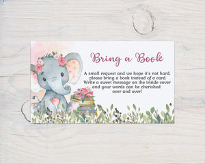 Girl Elephant Bring a Book Request Printable Card | Elephant Baby Shower Invitation insert - 63A