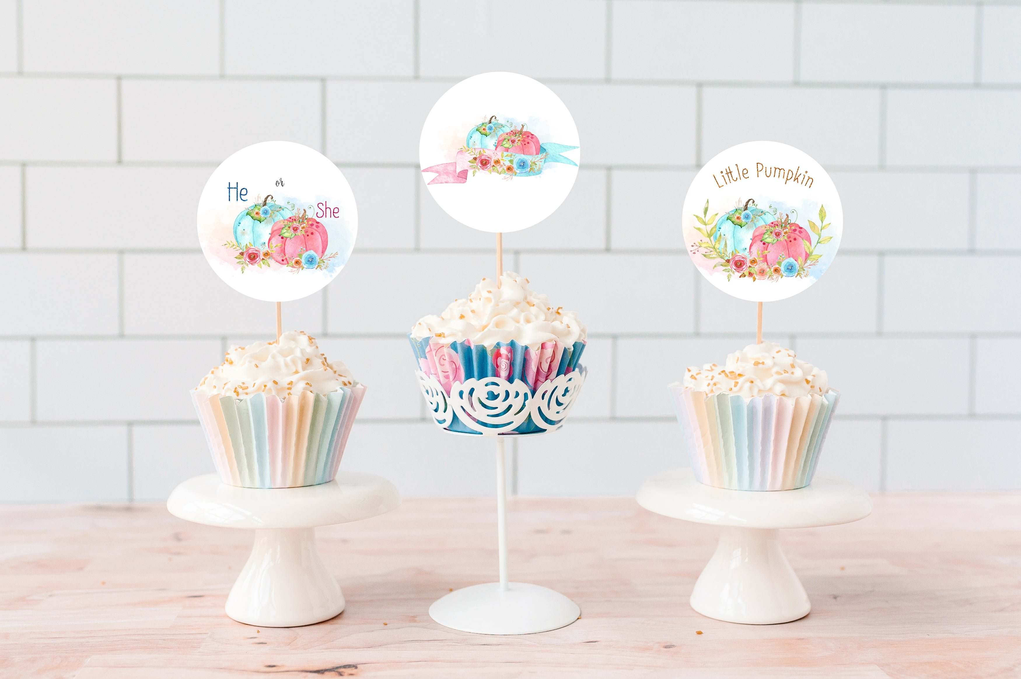 Pumpkin Gender Reveal Cupcake Toppers | Fall He or She Cupcake Picks - 30A