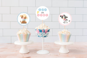 Farm Gender Reveal Cupcake Toppers | Cow Boy or Girl Cupcake Picks - 11D