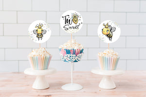 Bee 2nd Birthday Cupcake Toppers 2"