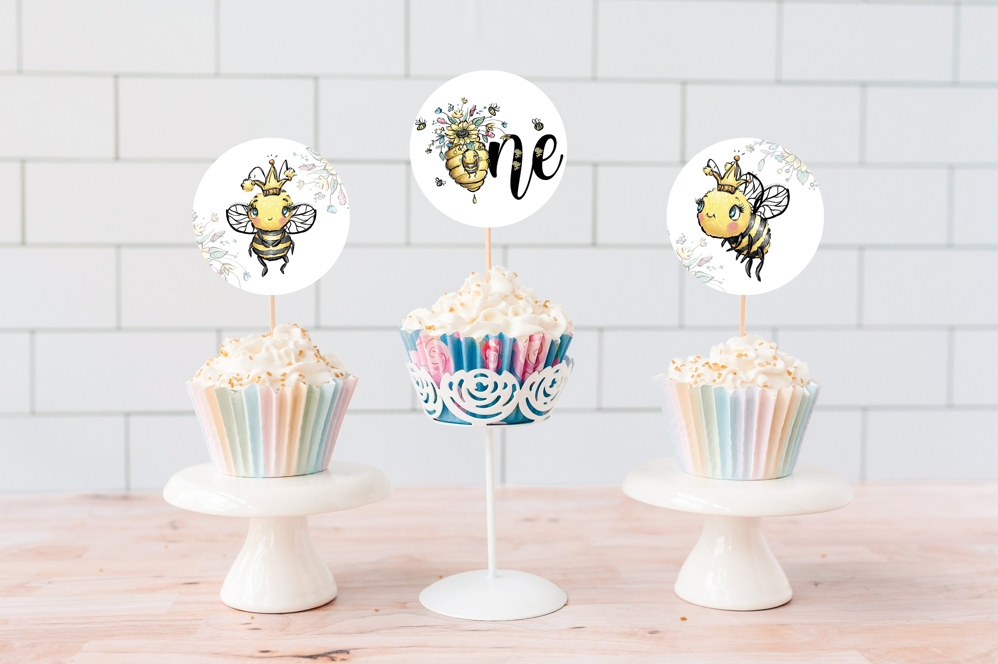 Bee 1st Birthday Cupcake Toppers 2"