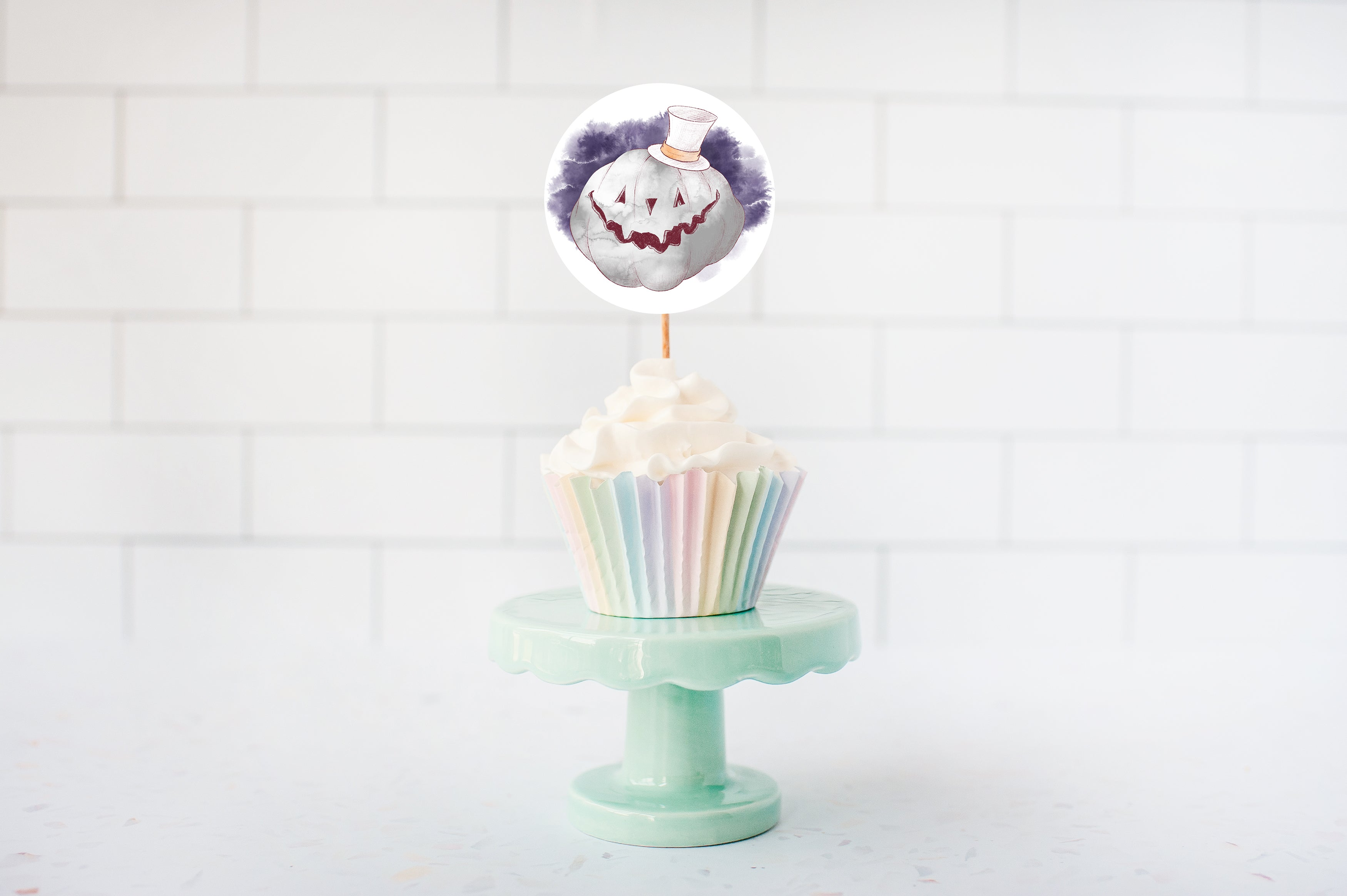 Halloween Birthday Cupcake Toppers | Halloween Theme Cupcake Picks - 115A