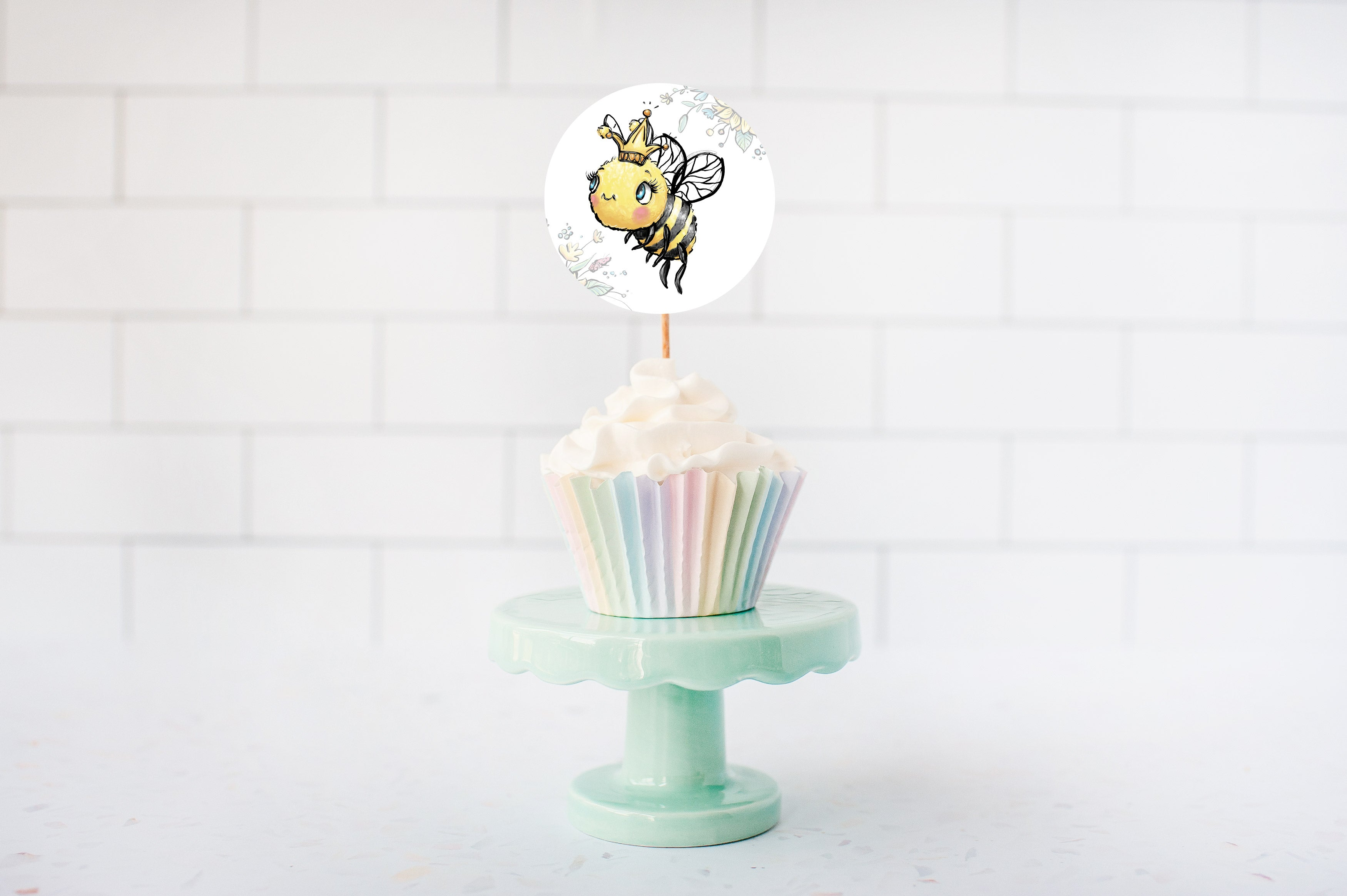 What Will Baby Bee Gender Reveal Cupcake Toppers | Bee He or She Cupcake Picks - 61A