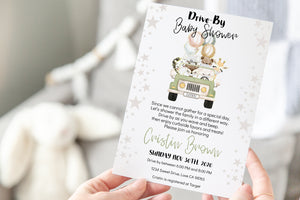 Safari with masks EDITABLE Drive-By Baby Shower Invitation | Jungle Theme 35D