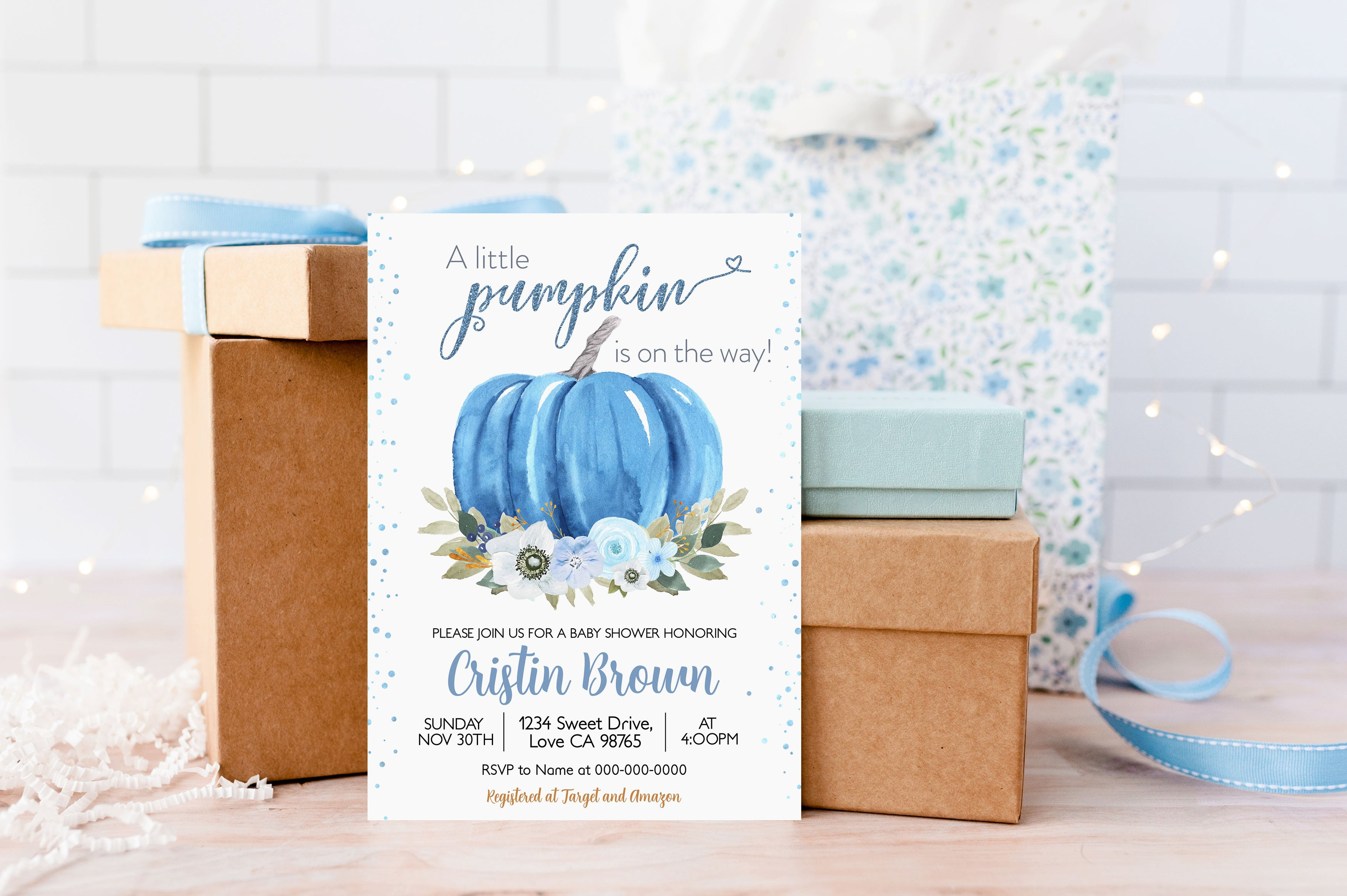 A Little Pumpkin is on the Way Invitation | Editable Pumpkin Baby Shower Boy Invite - 30B