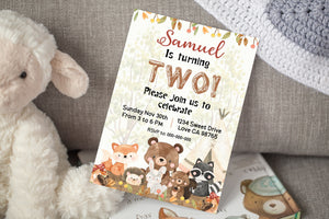 Woodland Animals and Teepee Editable Invitation | Forest Theme Birthday Party Invite - 47Gb
