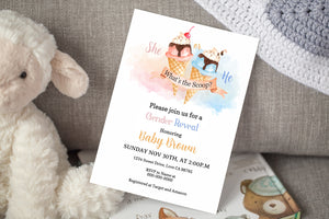 Ice Cream He or She Editable Invitation | Summer Gender Reveal 84B
