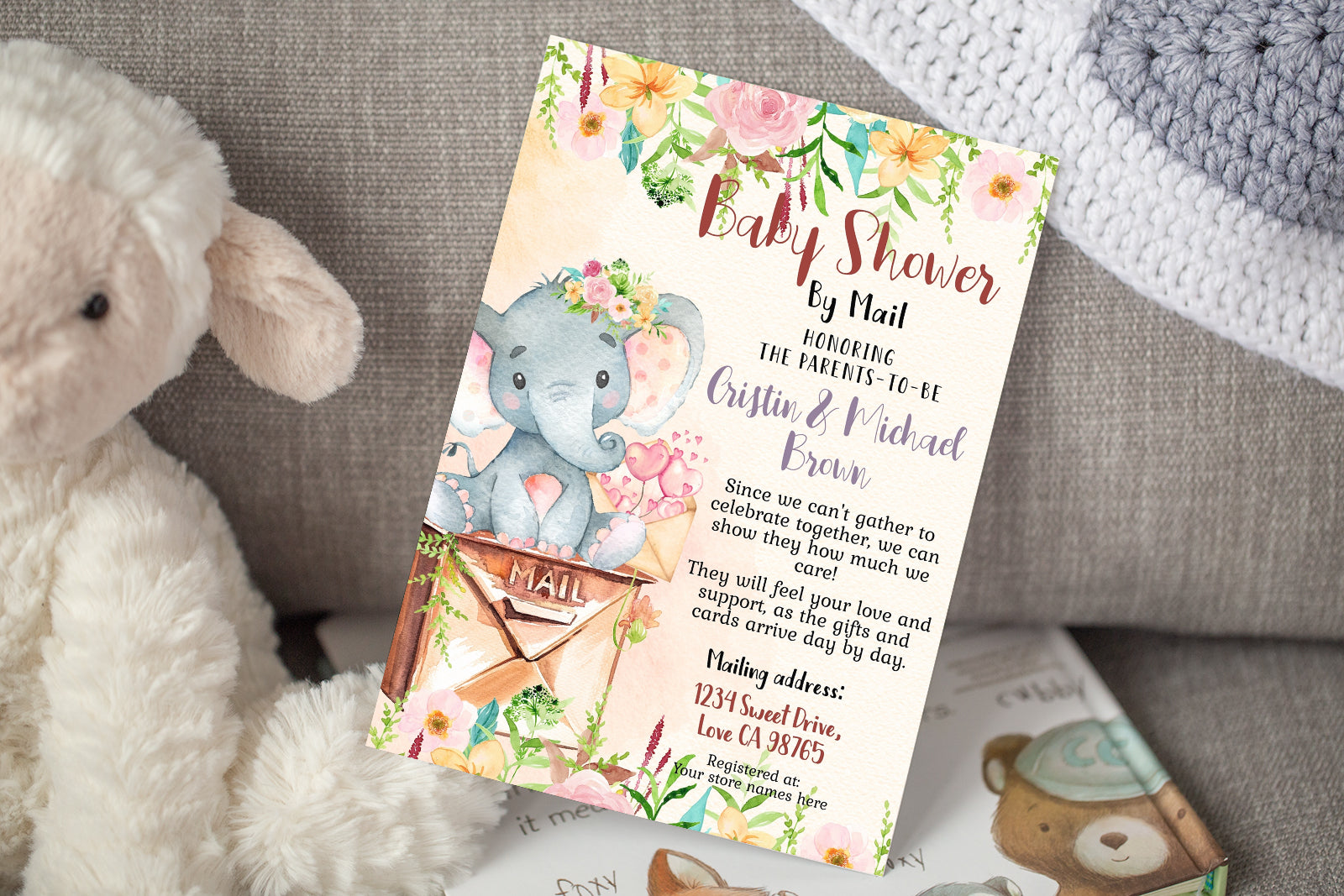 Girl Floral Elephant Editable Shower by Mail Invitation | Girl Safari Theme 63A