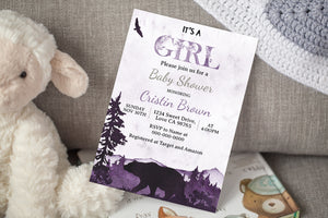 It's a Girl Bear Baby Shower | Forest Theme - 47D