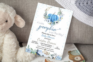 A Little Pumpkin is on the Way Editable Invitation | Pumpkin Boy Baby Shover - 30B