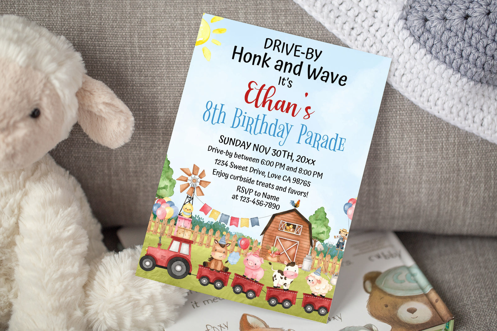 Train Farm Animals Editable Birthday Invitation | Farm Theme Party- 11A
