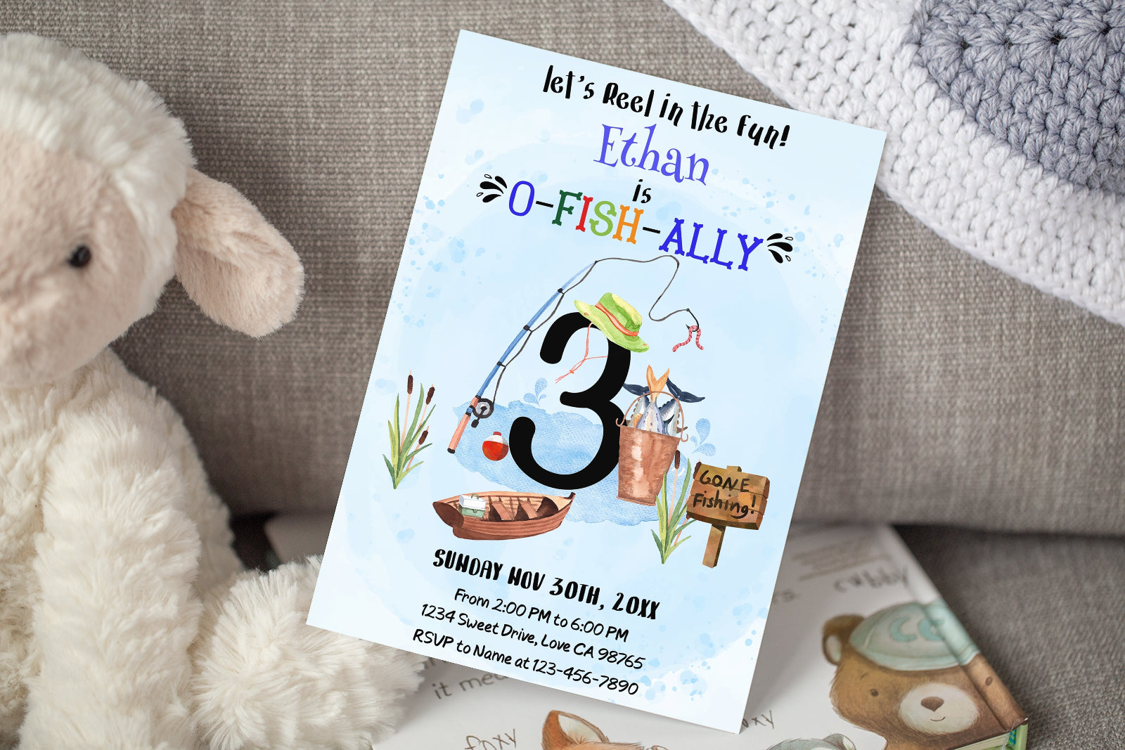 O-Fish-Ally Three Editable Invitation | Fishing Theme Party-97A
