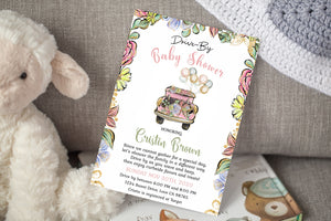 Floral Car Editable Drive-By Baby Shower Invitation - 31