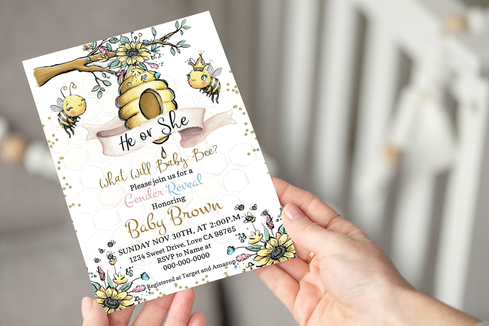 Bee He or She Editable Invitation | Honeycomb Gender Reveal 61A