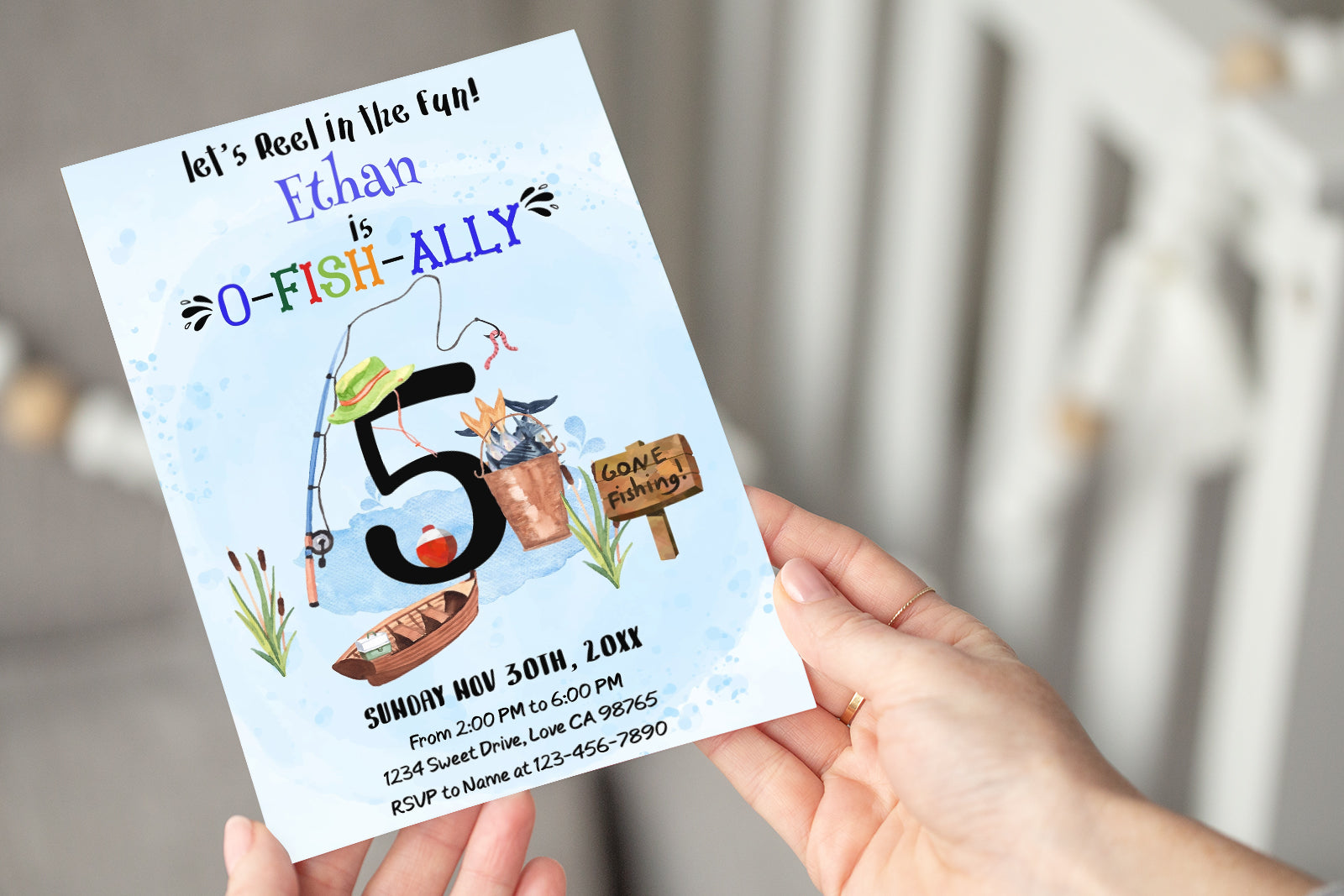 O-Fish-Ally Five Editable Invitation | Fishing Theme Party-97A