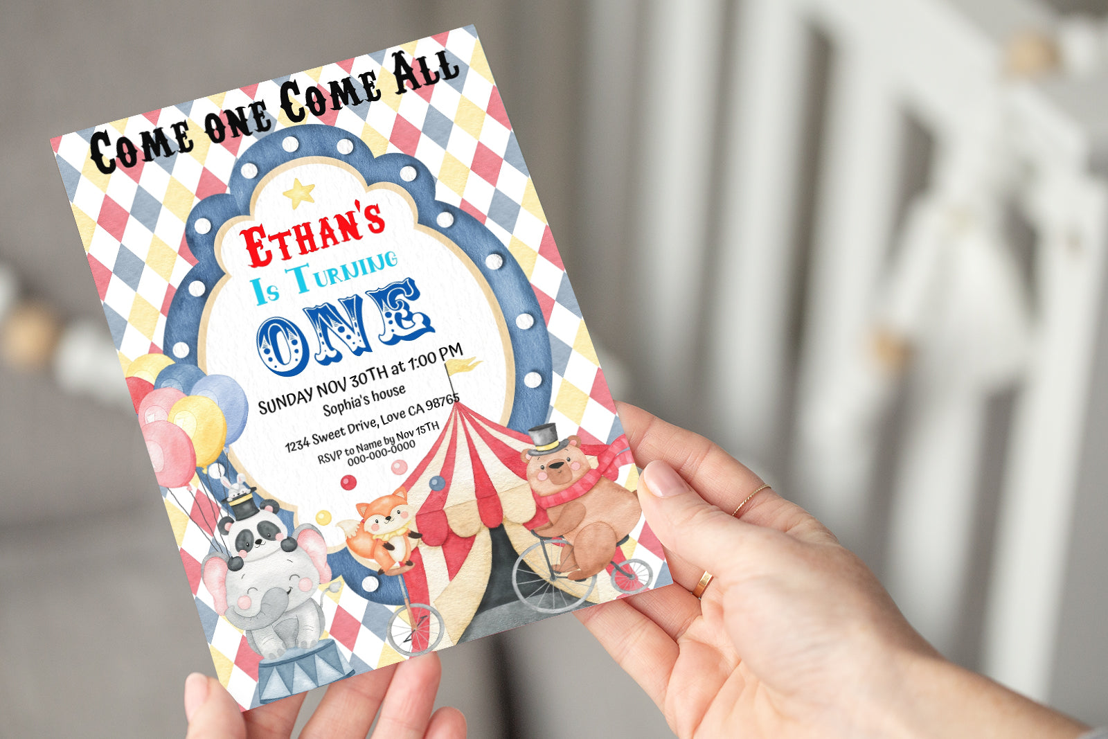 Editable Circus Birthday  Invitation | Carnival Theme Party 06A
