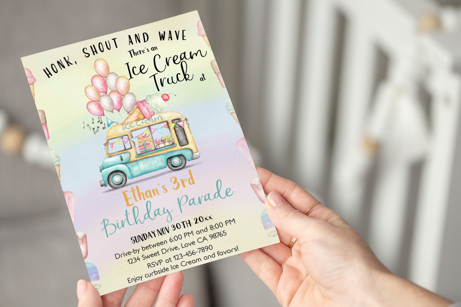 Ice Cream Truck Editable Birthday Drive-By Invitation | Summer Party theme - 84A
