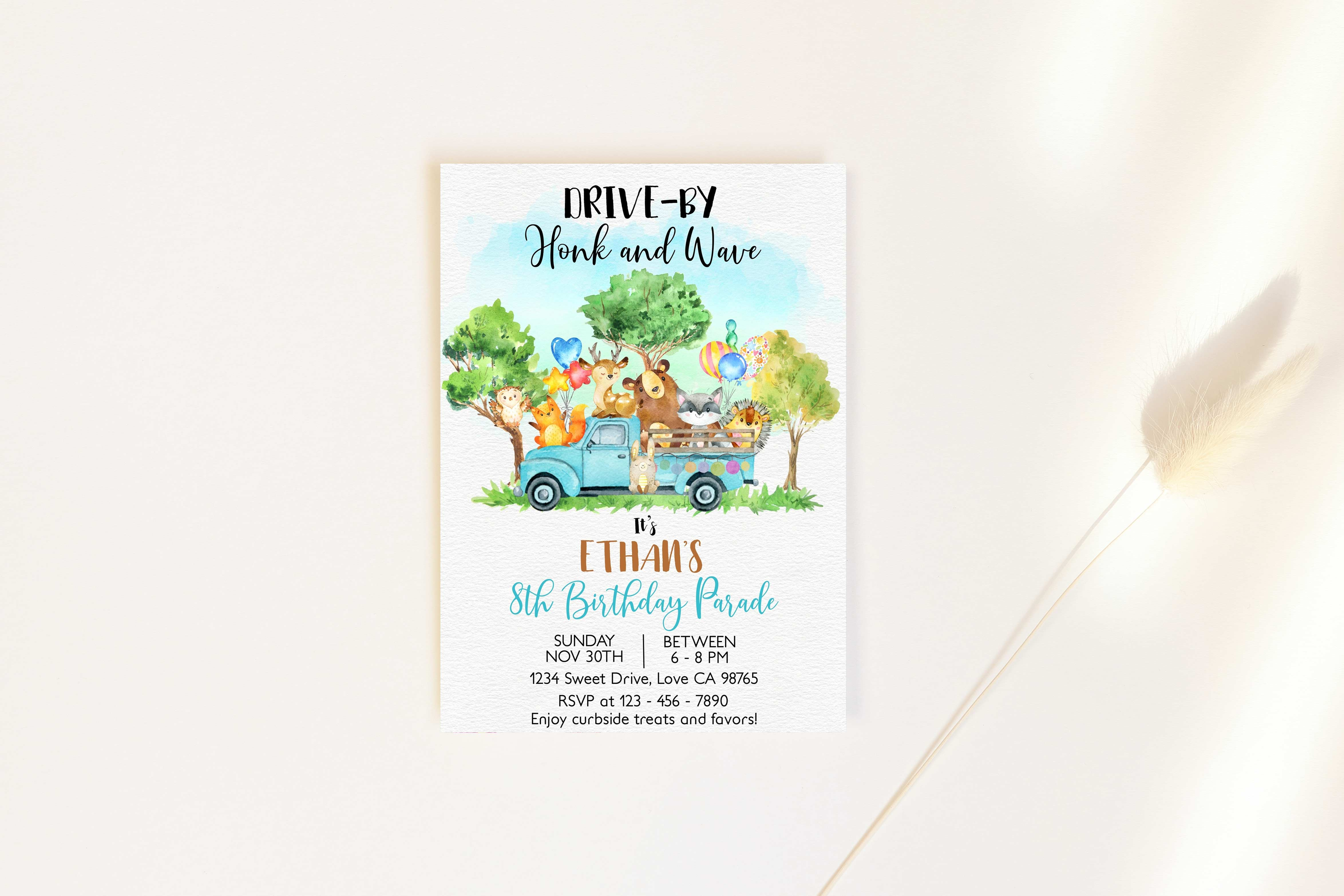 Woodland Editable Drive-By Birthday Invitation | Forest Animals theme party - 47F