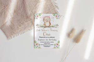 Look Whooo's Turning One Invitation | Owl Girl Birthday Invite- 78A