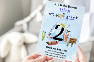 O-Fish-Ally Two Editable Invitation | Fishing Theme Party-97A