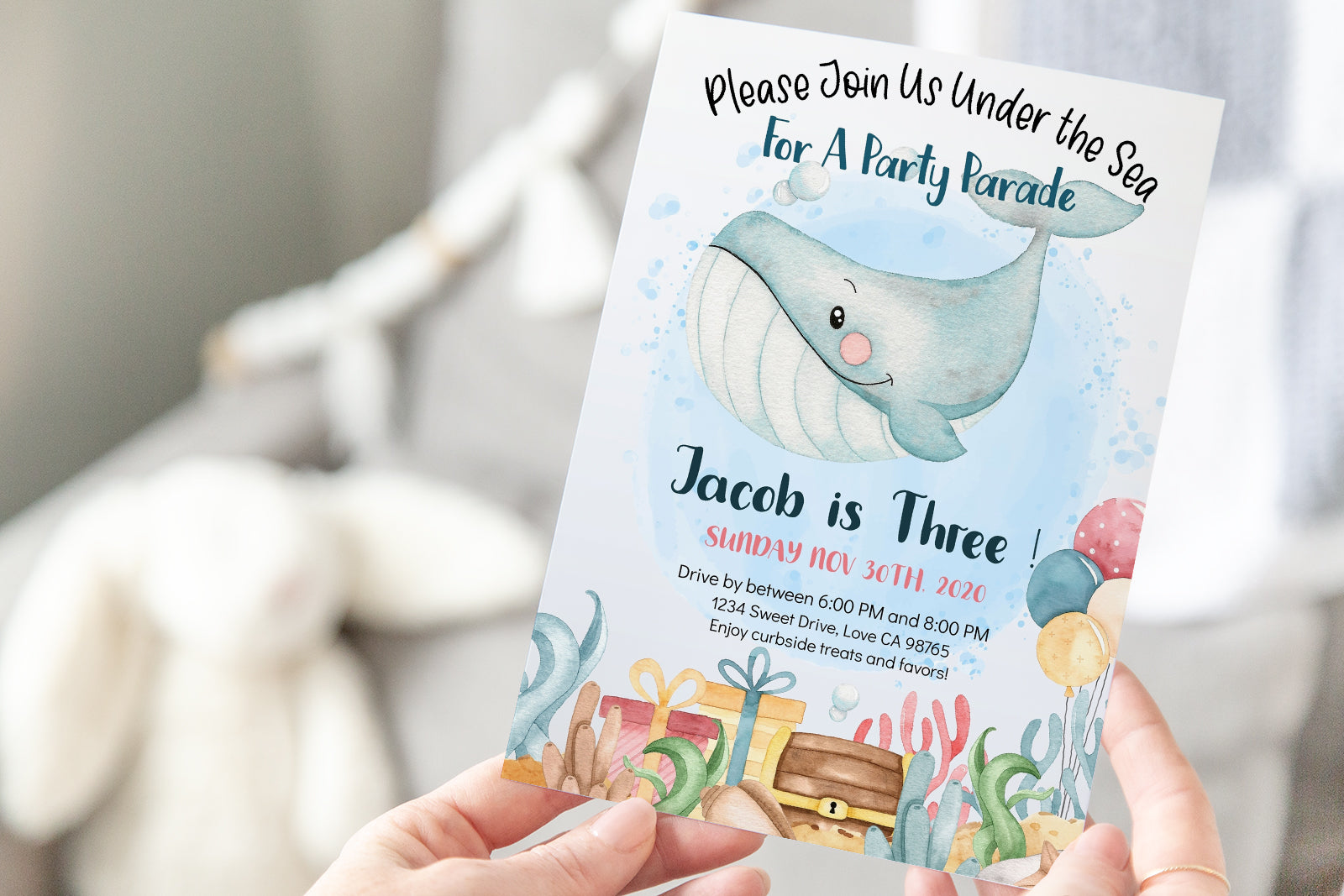 Blue Whale EDITABLE Drive-By Birthday Parade Invitation | Under the Sea Theme Boy 44Ab