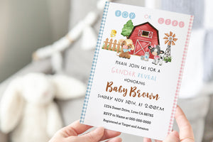 Farm Boy or Girl Editable Invitation | Banyard Gender Reveal - 11D