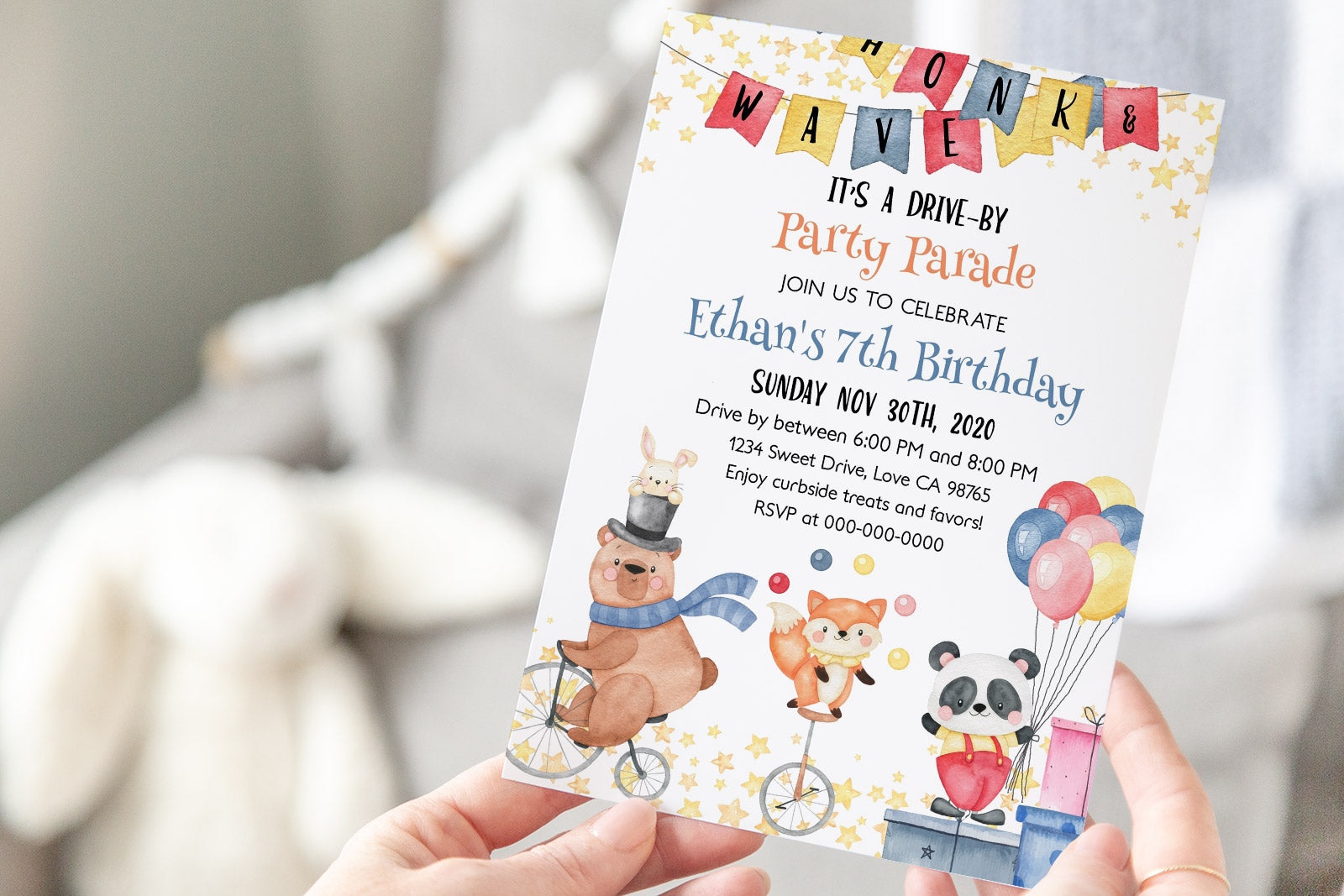 Circus Birthday Drive-By Invitation | Carnival Theme Party 06A