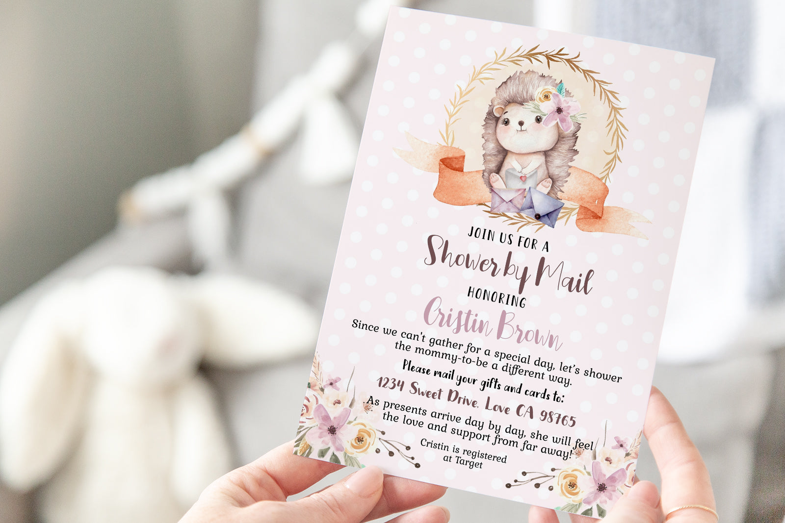 Hedgehog EDITABLE Shower By Mail Invitation | Woodland Theme Girl 47B