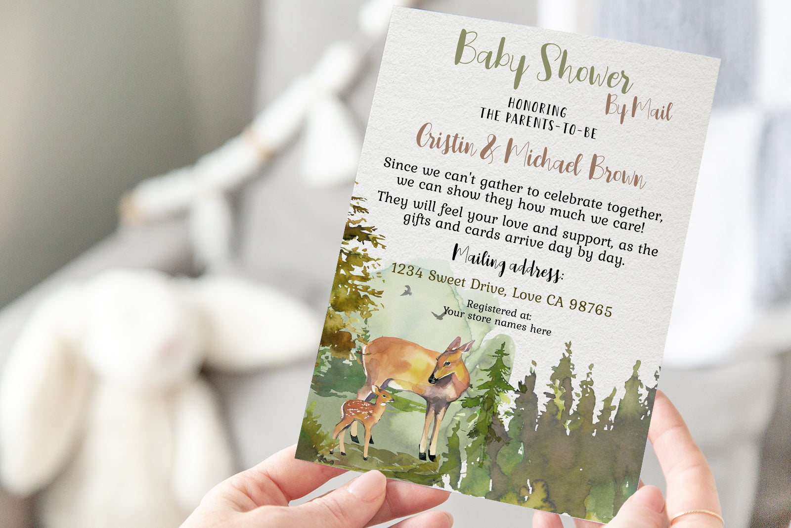 Deer Editable Shower By Mail Invitation | Forest Theme - 31