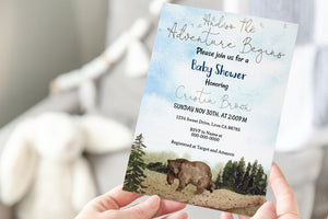 Bear Editable Baby Shower Invitation | Woodland Theme Party 47H