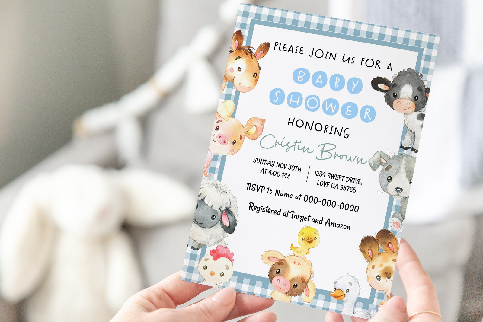 Blue Gingham Farm Editable Baby Shower Invitation | Farm Theme - 15C