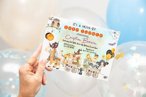 Editable Farm Drive By Baby Shower Invitation | Halloween Theme Party - 115H