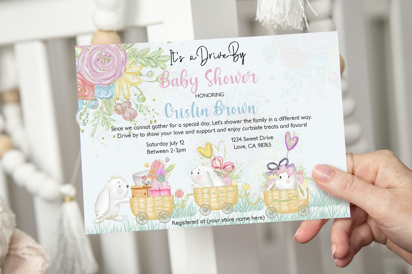 Bunny Editable Baby Shower Drive-By Invitation - 62A