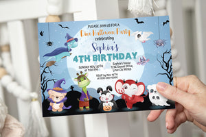 Editable Halloween Invitation | Woodland Animals Themed Party - 115F