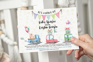 Polka Dots and Cars EDITABLE Drive-By Baby Shower Invitation