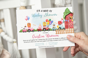 EDITABLE Farm Drive-By Baby Shower Invitation 11A