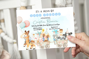 Editable Drive By Baby Shower Invitation | Farm Theme Party - 11C