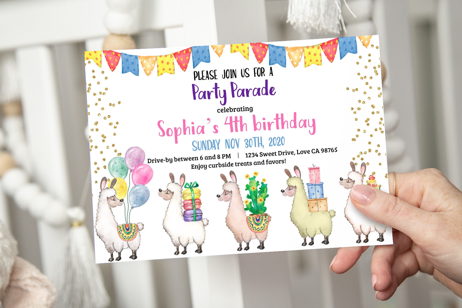 Llamas Party Parade Invitation | Llamas Drive By Birthday - 31