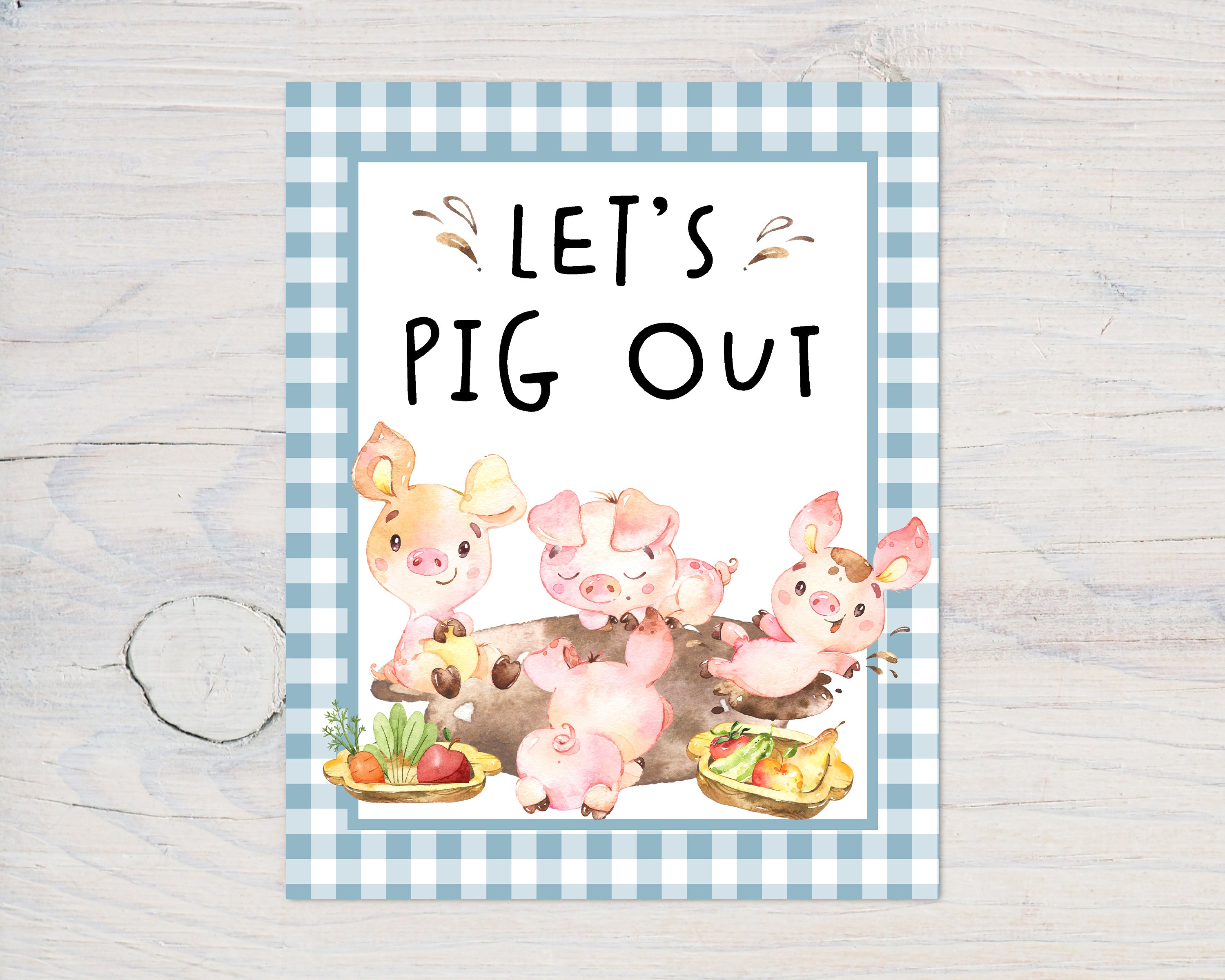 Farm Let's Pick Out Sign Printable | Farm Theme Baby Shower Table Decoration - 11C