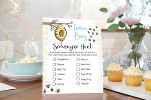 Bee Gender Reveal Game | Bumble Bee Team Boy Team Girl Scavenger Hunt Printable - 61A