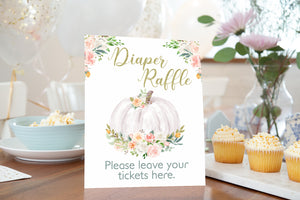 White Pumpkin Diaper Raffle Sign and Ticket Card | Fall Baby Shower Game Printable -30H