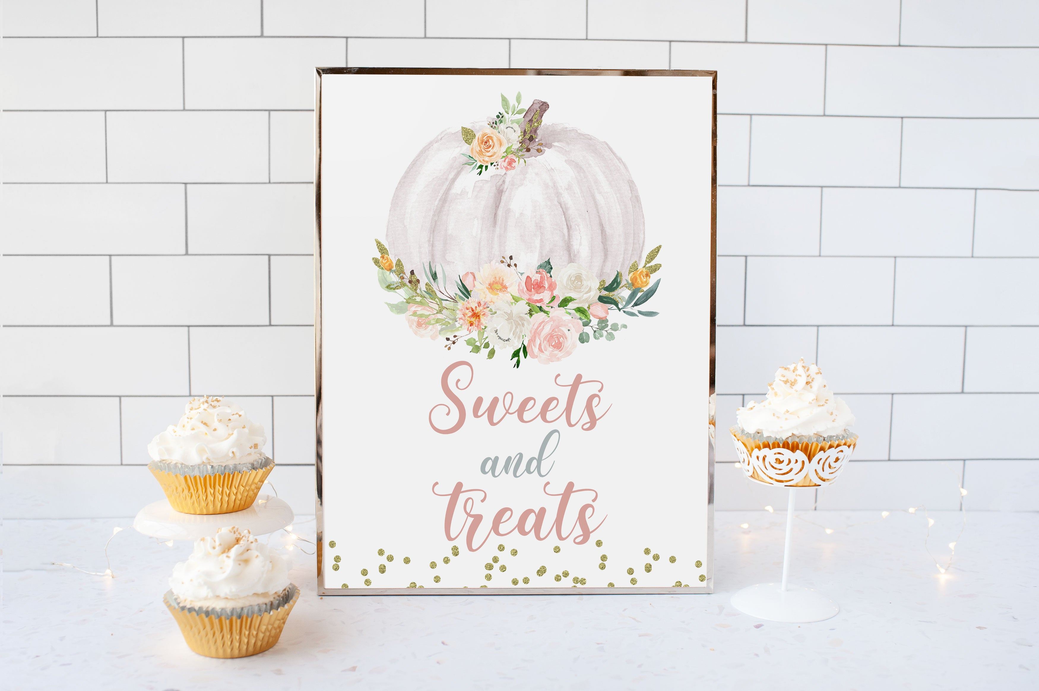 Pumpkin Sweets and Treats Sign Printable | Pumpkin theme Baby Shower Table Decoration - 30H